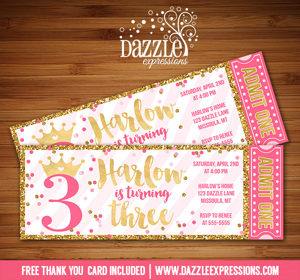 printable pink and gold glitter princess birthday ticket invitation