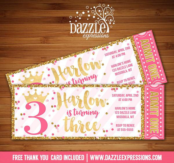 Princess Glitter Ticket Invitation 1 - FREE thank you card