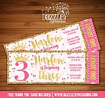 Princess Glitter Ticket Invitation 1 - FREE thank you card