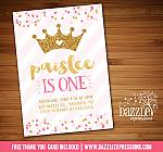 Princess Glitter Invitation 1 - FREE thank you card