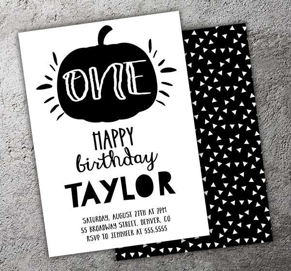Pumpkin Birthday Invitation 2 - FREE Thank You Card included