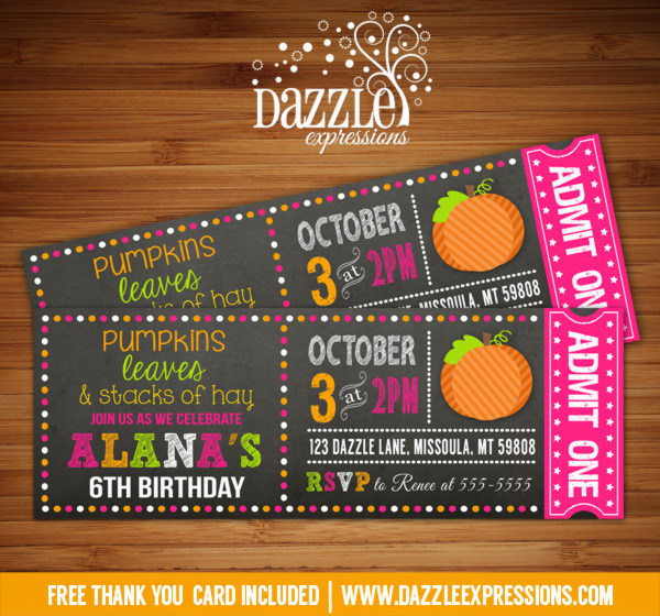 pumpkin chalkboard ticket invitation 2 free thank you card included