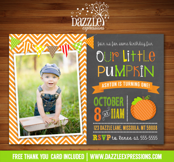Pumpkin Chalkboard Birthday Invitation 1 - FREE thank you card included