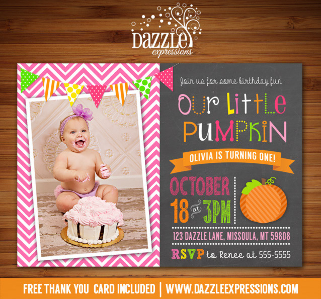 Pumpkin Chalkboard Birthday Invitation 2 - FREE thank you card included