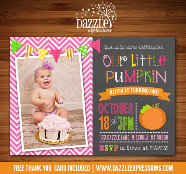 Pumpkin Chalkboard Birthday Invitation 2 - FREE thank you card included