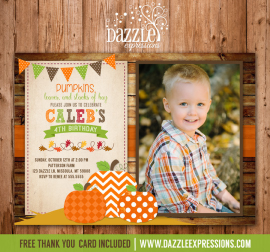 Pumpkin Patch Birthday Invitation 2 with photo - FREE thank you card included