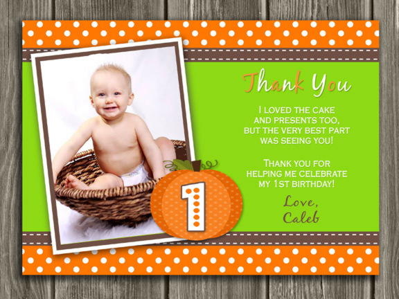 Pumpkin Photo Thank You Card - Printable