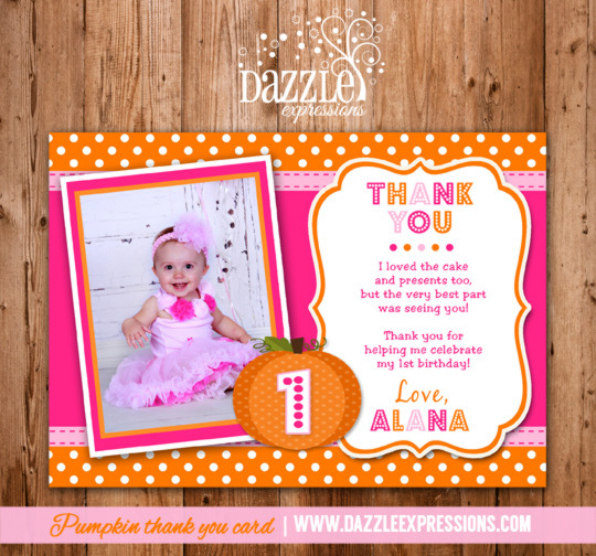 Pink Pumpkin Photo Thank You Card - Printable