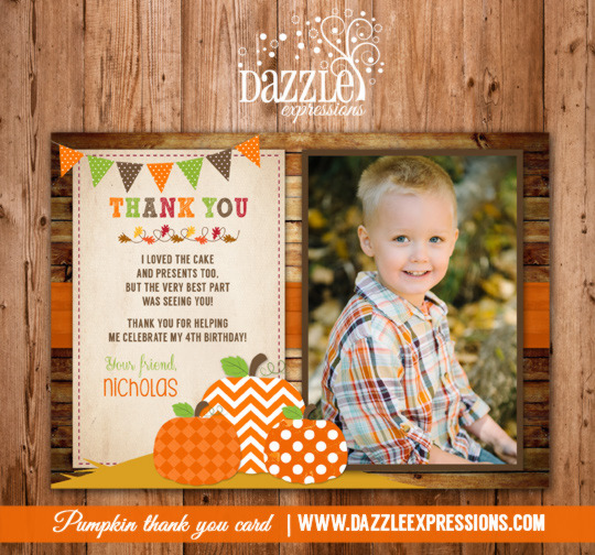 Pumpkin Patch Photo Thank You Card - Printable