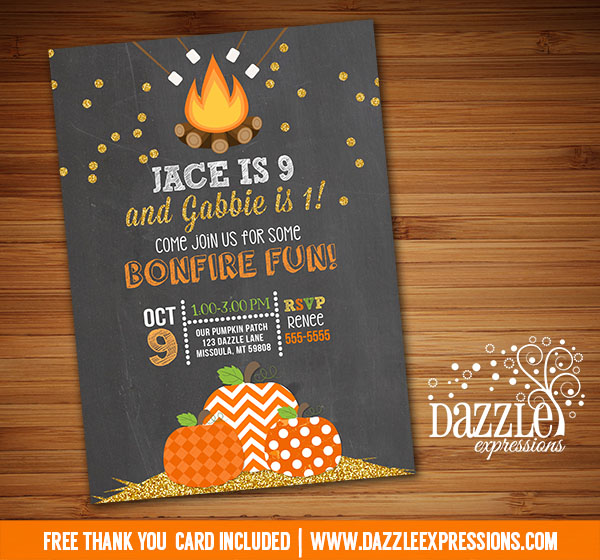 printable gold glitter pumpkin bonfire birthday invitation