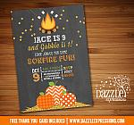 Glitter Pumpkin Bonfire Double Party Invitation - FREE thank you card included