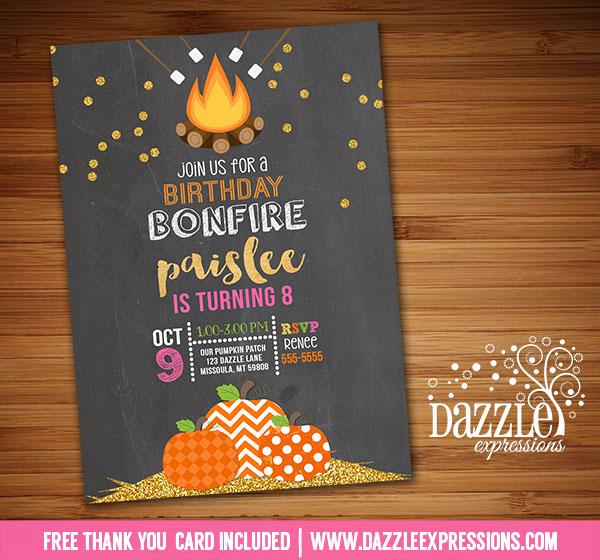 Printable Gold Glitter Pumpkin Bonfire Birthday Invitation - Smores - October Fall Birthday