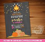 Gold Glitter Pumpkin Bonfire Chalkboard Invitation - FREE thank you card included