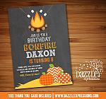 Pumpkin Bonfire Birthday Invitation - FREE thank you card