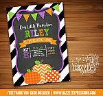 Pumpkin Chalkboard Birthday Invitation 3 - FREE Thank You Card included