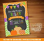 Pumpkin Chalkboard Birthday Invitation 5 - FREE Thank You Card included