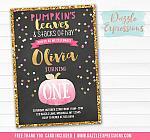 Pumpkin Chalkboard Birthday Invitation 6 - FREE Thank You Card included
