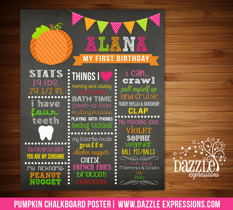 Printable Girl Pumpkin Chalkboard Poster