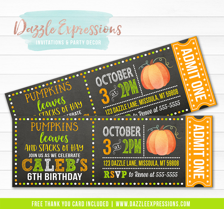 Pumpkin Chalkboard Ticket Invitation 1 - FREE thank you card included