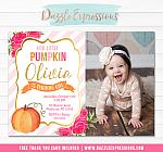 Pumpkin Floral Invitation 2 - FREE thank you card