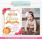 Pumpkin Floral Invitation 2 - FREE thank you card