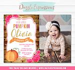 Pumpkin Floral Invitation 4 - FREE thank you card