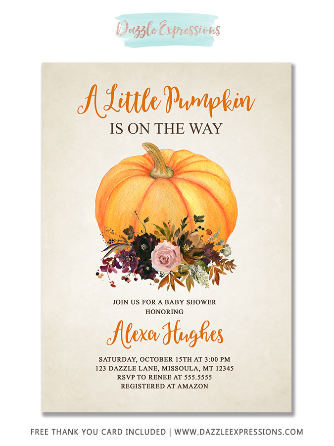 Pumpkin Floral Baby Shower Invitation 1 - FREE thank you card