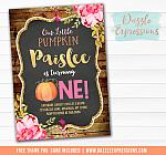 Pumpkin Floral Chalkboard Invitation 1 - FREE thank you card included