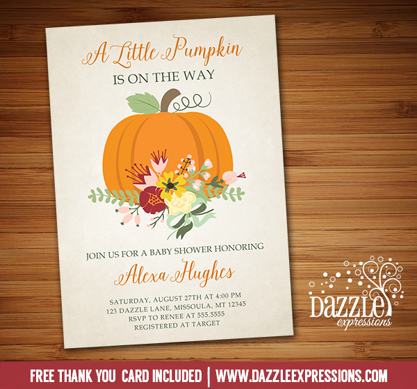 Pumpkin Floral Baby Shower Invitation - FREE thank you card