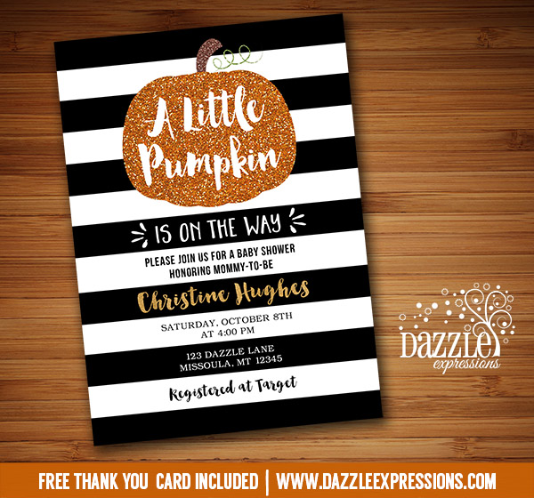 Pumpkin Glitter Baby Shower Invitation - FREE thank you card included