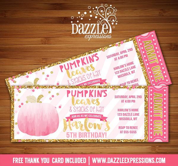 Pumpkin Glitter Ticket Invitation