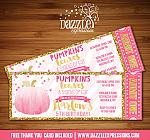 Pumpkin Glitter Ticket Invitation - FREE thank you card
