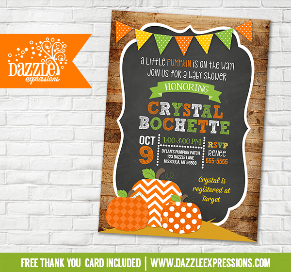 Pumpkin Patch Chalkboard Baby Shower Invitation - FREE thank you card