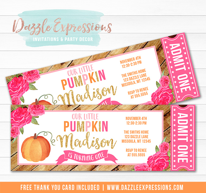 Pumpkin Patch Floral Ticket Invitation - FREE thank you card