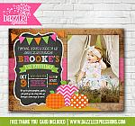 Pumpkin Patch Chalkboard Invitation 4 - FREE thank you card