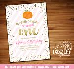 Pink and Gold Pumpkin Invitation 3 - FREE thank you card