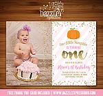 Pink and Gold Pumpkin Invitation 4 - FREE thank you card