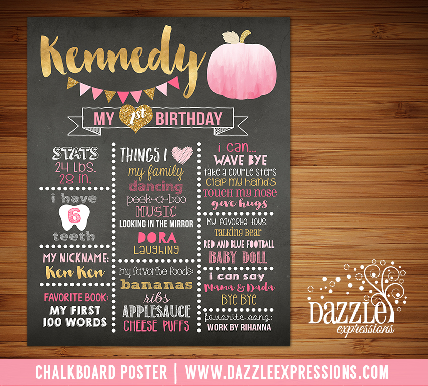 Printable Pink and Gold Pumpkin Chalkboard Poster