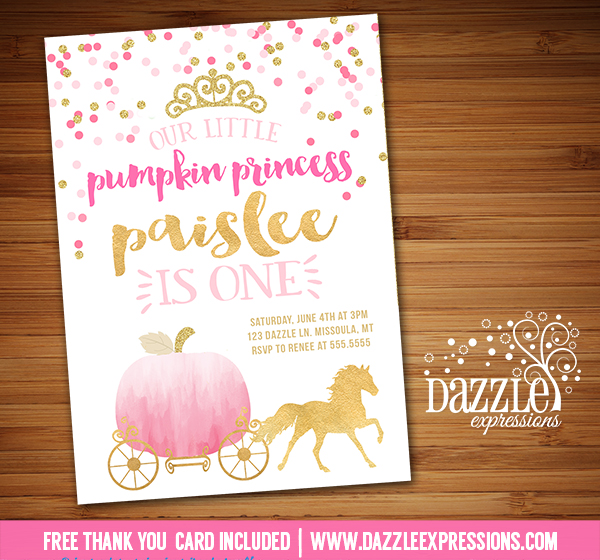 Printable Watercolor and Gold Pumpkin Princess Birthday Invitation – 1st Birthday Princess Invitation