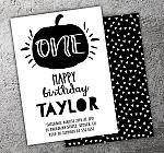Pumpkin Black and White Invitation - FREE thank you card