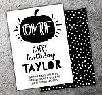 Pumpkin Black and White Invitation - FREE thank you card