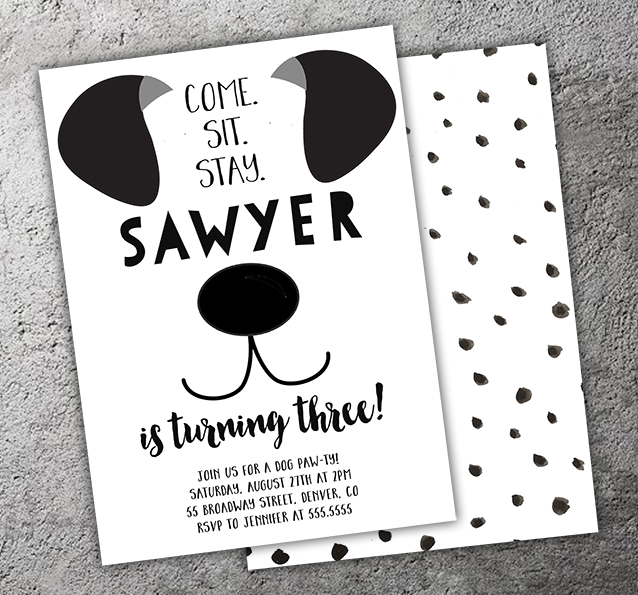 Printable black and white puppy dog birthday invitation pawty puppy invitation 2 free thank you card filmwisefo