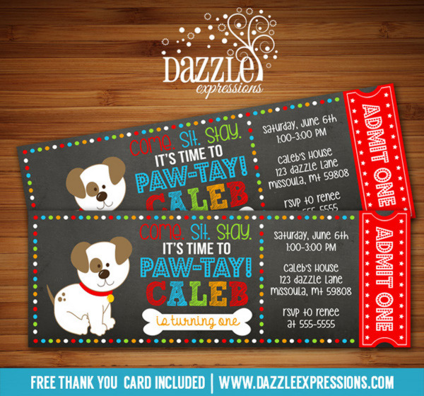 Puppy Chalkboard Ticket Invitation 2 - FREE thank you card included