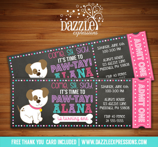 Puppy Chalkboard Ticket Invitation 1 - FREE thank you card included