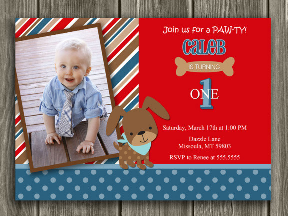 Puppy Invitation 1 - Thank You Card Included