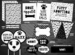 Puppy Black and White Complete Party Package - Printable