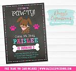Puppy Chalkboard Invitation - FREE thank you card included