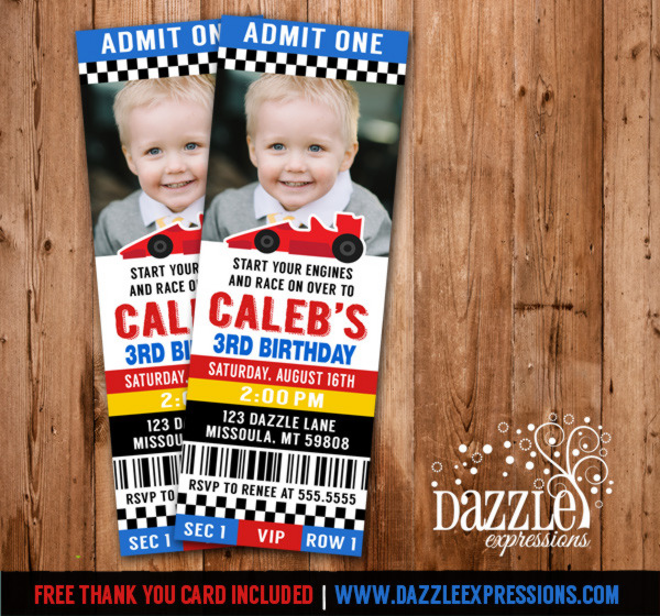Race Car Ticket Invitation 1 - FREE thank you card included
