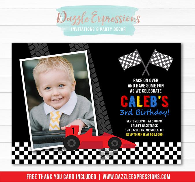 Race Car Invitation - Thank You Card Included