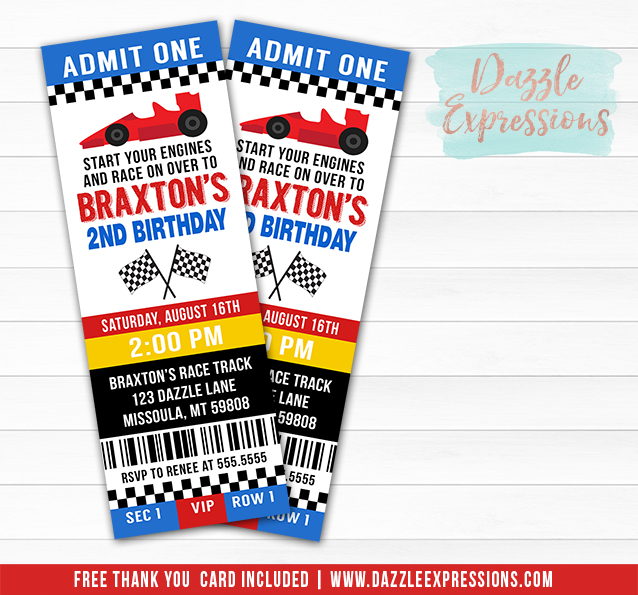 Cars Invitation Card Template Free: Printable Race Car Ticket Birthday Invitation